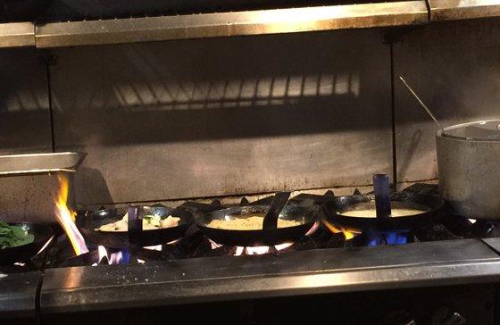 Four pans cooking.JPG