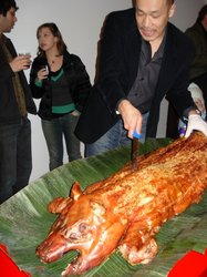 Carving the pig at Baguette Box.JPG