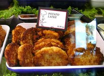 Latkes in display case.jpg