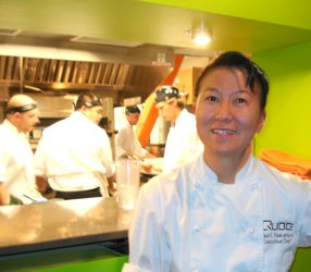 Lisa Nakamura at Qube kitchen.JPG