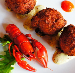 CRawfish fritters at Lost Pelican.JPG